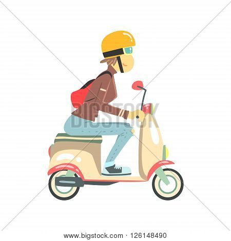 Women Riding Pink Girly Scooter  Flat Isolated Vector Simple Drawing On White Background In Cartoon Style