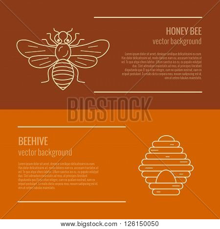 Honey bee and beehive banner. Honey bee and beehive vector symbol. Outline style Honey bee and beehive banner. Mead bee and beehive illustration. Vector illustration of Honey bee and beehive banner