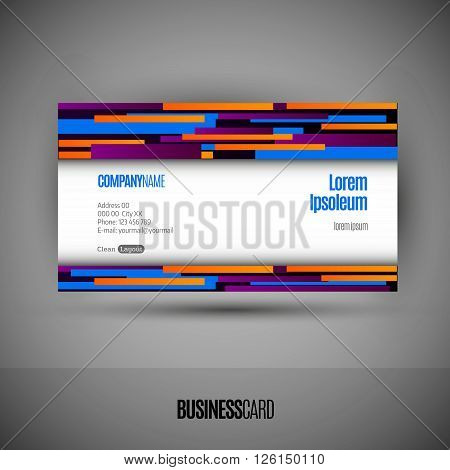 Business card with abstract lines. Modern design elements. Vector template.