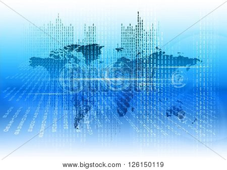 Digitall world as abstract business background. Blue vector design elements.