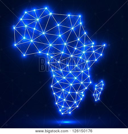 Abstract polygonal Africa map with glowing dots and lines, network connections, vector illustration, eps 10