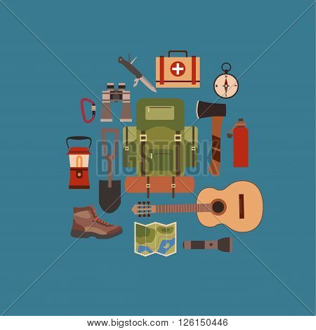 Vector illustration of camping concept. Hiking and tourism camping concept background. Camping concept symbols: backpack, axe, compass, flashlight, guitar, boot. Camping concept background in flat style.