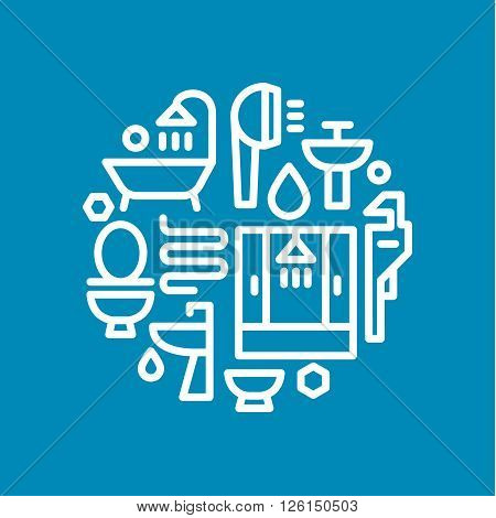 The icons logos of sanitary equipment, shower, toilet, bathtub, sink in a linear style flat illustrations art
