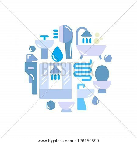 Modern Sanitary engineering set of icons can be used as a of the logo, a vector file volume on an abstract style art