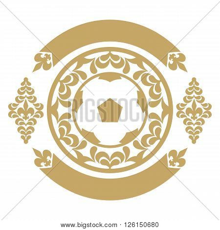 Gold retro the card or an emblem with a soccerball, a heraldic lily, a tape. For decoration. Vector illustration