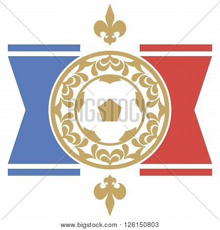 Retro the card or an emblem with a soccerball, a heraldic lily and the French flag. For decoration. Vector illustration