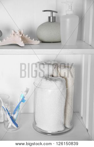 Bathroom set with towels, starfish, toothbrushes and dispensers on a light shelf
