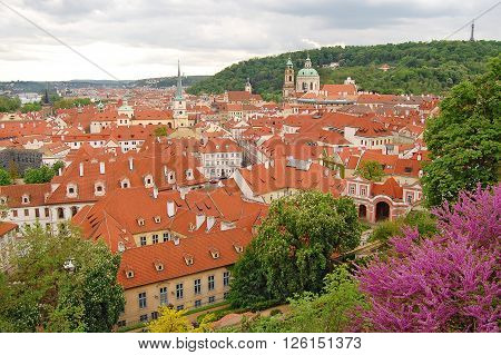 Prague. Old town. Petrin hill. St. Thomas Church. St. Nicholas Church. Palffy palace. Wallenstein palace.