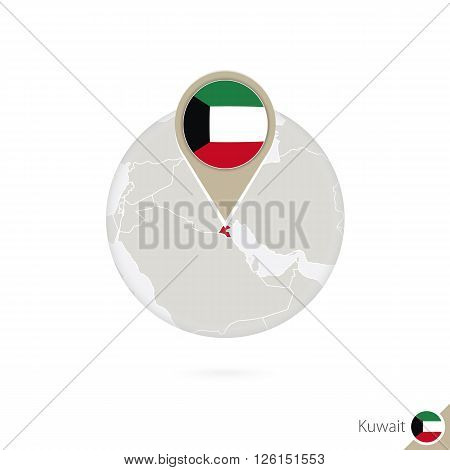 Kuwait Map And Flag In Circle. Map Of Kuwait, Kuwait Flag Pin. Map Of Kuwait In The Style Of The Glo
