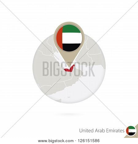United Arab Emirates Map And Flag In Circle. Map Of Uae, Uae Flag Pin. Map Of Uae In The Style Of Th