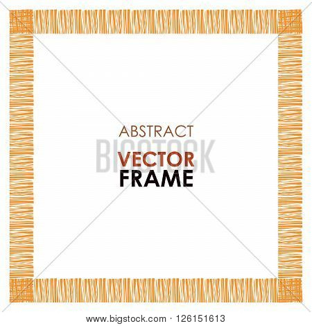 Abstract vector frame. Ethnic square frame, hand drawn vector. Tribal abstract frame. African abstract border