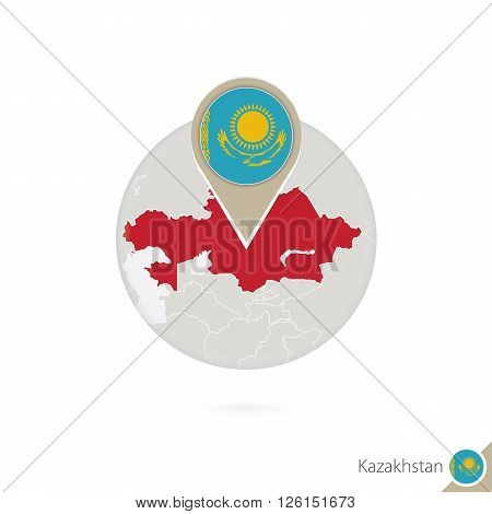 Kazakhstan map and flag in circle. Map of Kazakhstan Kazakhstan flag pin. Map of Kazakhstan in the style of the globe. Vector Illustration.