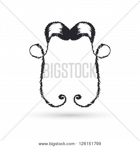 Black moustaches of handwork, for ornament. Vector illustration