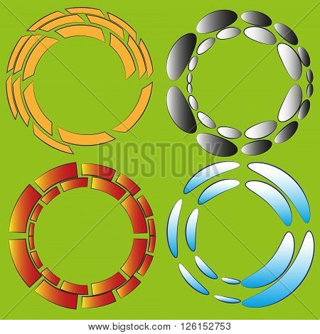 Set of four round original effect or frame