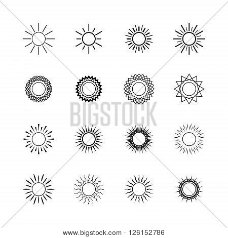 Set of Different Images of the Sun, Set of Sun Shapes, Sun Icon, Line Style Design, Vector Illustration