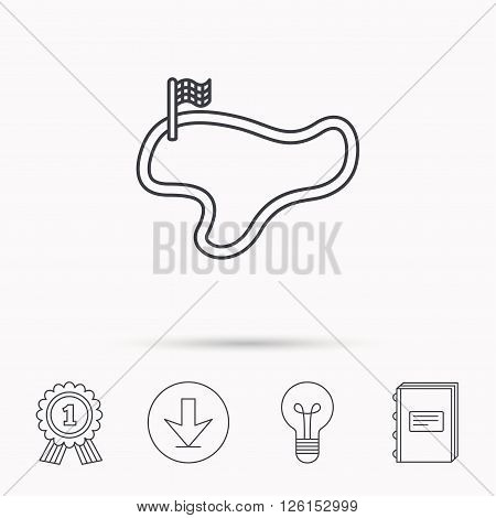 Race track or lap icon. Finish flag sign. Download arrow, lamp, learn book and award medal icons.