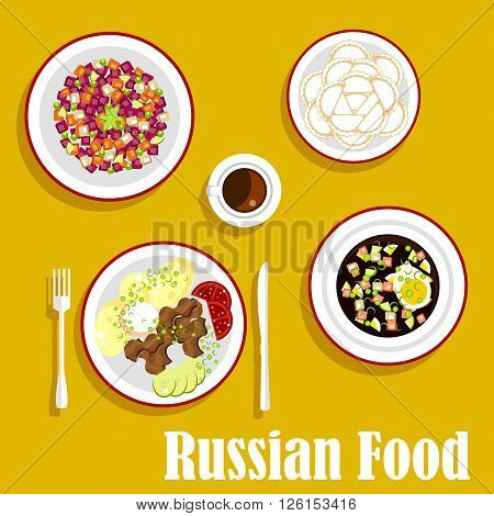 Popular dishes of russian cuisine with beef stroganoff, served with boiled potatoes, fresh vegetables and sour cream, cold soup okroshka with rye bread kvass, vegetarian salad vinegret, dumplings and cup of coffee. Flat style