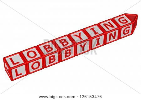 Blocks with word lobbying isolated on white background. 3D rendering.