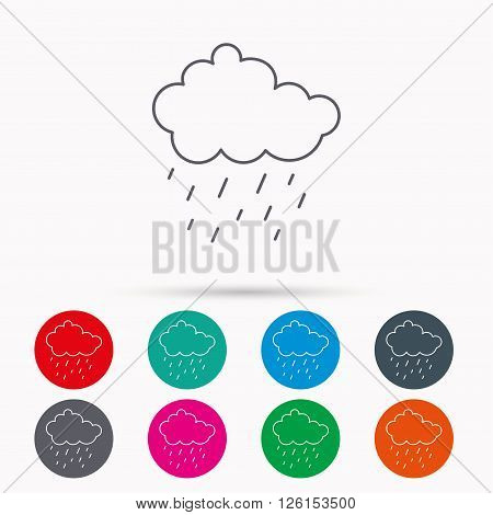 Rain icon. Water drops and cloud sign. Rainy overcast day symbol. Linear icons in circles on white background.