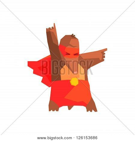 Mole Super Hero Character Flat Geometrical Design Cool  Vector Icon On White Background