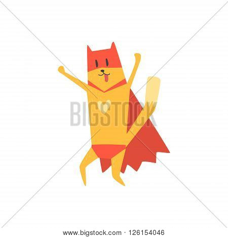 Super Hero Cat Cheering Flat Geometrical Design Cool  Vector Icon On White Background