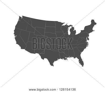 Set of black USA states - vector illustration. High detailed vector map - United States.