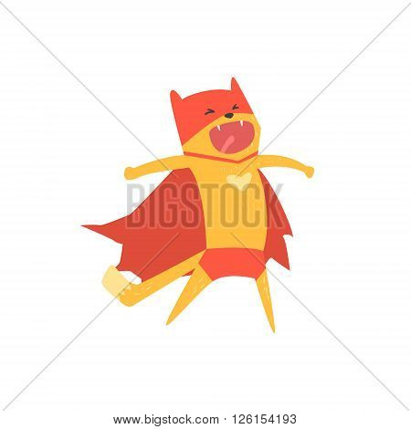 Super Hero Cat Shouting Flat Geometrical Design Cool  Vector Icon On White Background