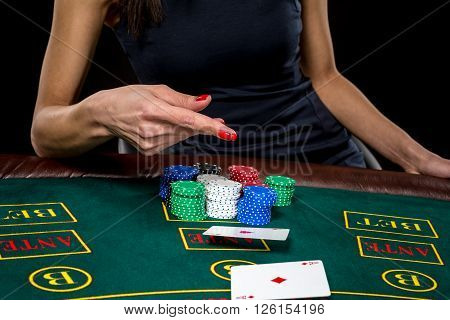 Poker play. Cards in a player's hand