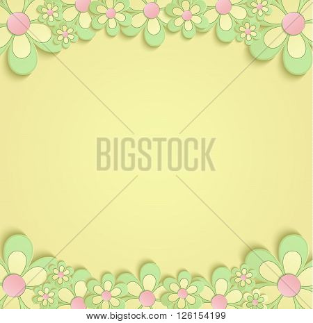 Flowers Spring border card 3D yellow vector