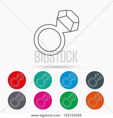 Ring with diamond icon. Jewellery sign. Linear icons in circles on white background.