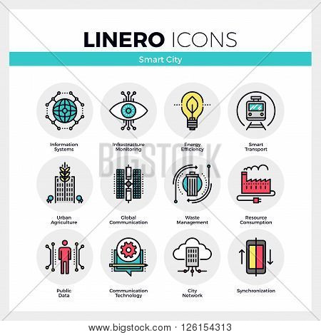 Line icons set of future smart city infrastructure system. Modern color flat design linear pictogram collection. Outline vector concept of mono stroke symbol pack. Premium quality web graphics material.