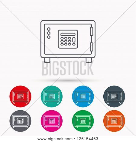 Safe icon. Money deposit sign. Combination lock symbol. Linear icons in circles on white background.