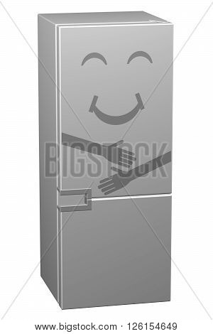 White smiling refrigerator isolated on white background. 3D rendering.