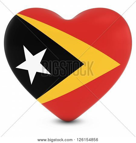 Love East Timor Concept Image - Heart Textured With Timorese Flag