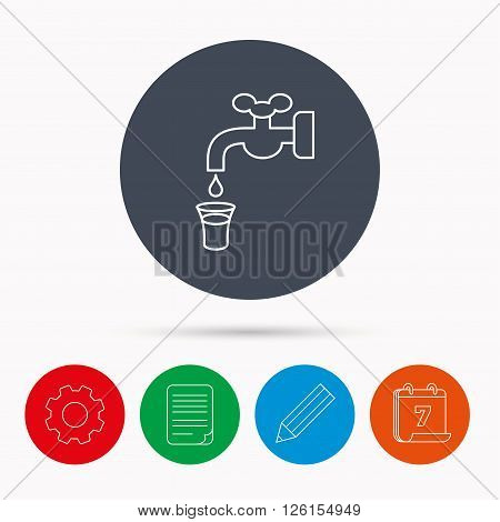 Save water icon. Crane or Faucet with drop sign. Calendar, cogwheel, document file and pencil icons.
