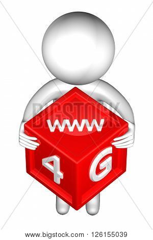 3d Man with with signs: 4G www isolated on white background. 3D rendering.