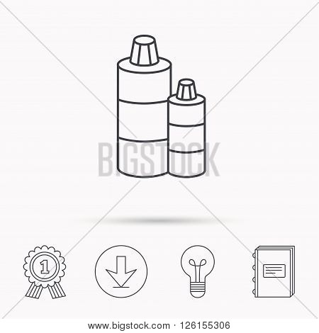 Shampoo bottles icon. Liquid soap sign. Download arrow, lamp, learn book and award medal icons.