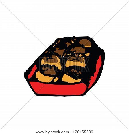 Japanese tradition food named Takoyaki which is squid bun on red box sketch drawing style with coloring vector illustration