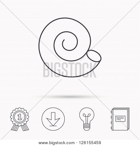 Sea shell icon. Spiral seashell sign. Mollusk shell symbol. Download arrow, lamp, learn book and award medal icons.