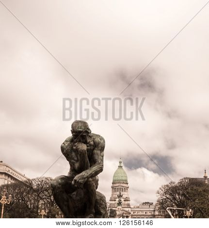 Man thinking statue in  buenos aires argentina
