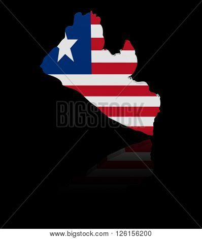 Liberia map flag with reflection 3d illustration