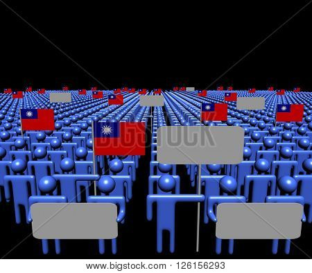Crowd of people with signs and Taiwanese flags 3d illustration