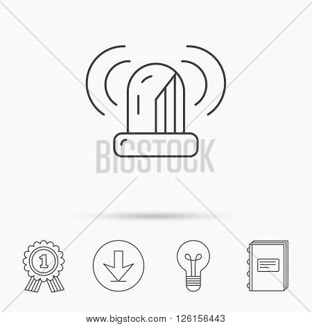 Siren alarm icon. Alert flashing light sign. Download arrow, lamp, learn book and award medal icons.