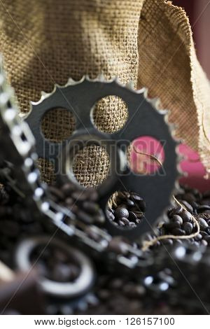 Gear sprockets chain for car engine coffee and texture of burlap sock