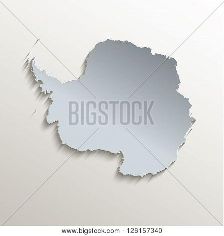 Antarctica map white blue card paper 3D raster