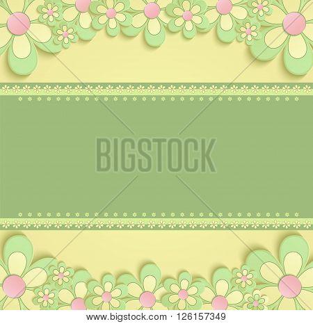 greeting card flowers 3D congratulations yellow green raster