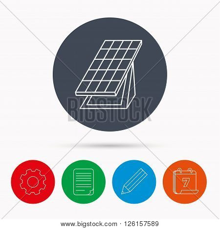 Solar collector icon. Sunlight energy generation sign. Innovation battery power symbol. Calendar, cogwheel, document file and pencil icons.