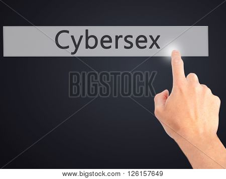 Cybersex - Hand Pressing A Button On Blurred Background Concept On Visual Screen.