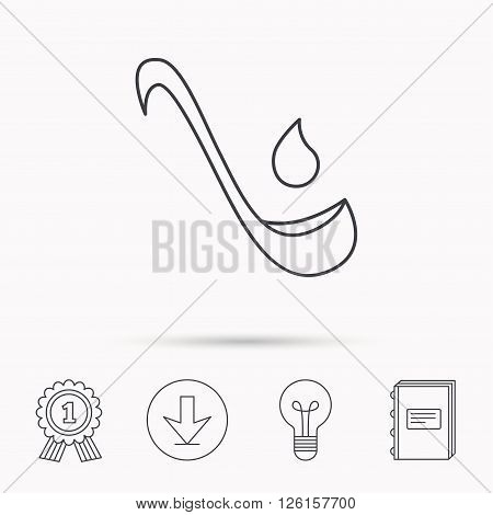 Soup ladle icon. Kitchen spoon sign. Download arrow, lamp, learn book and award medal icons.