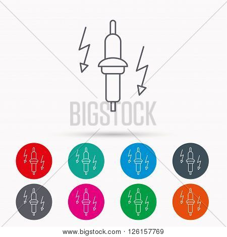 Spark plug icon. Car electric part sign. Linear icons in circles on white background.